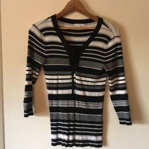 NY&Co size M black white & gray striped 3/4 sleeve